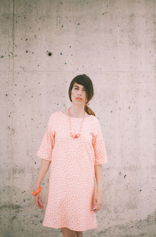 Peach polyhedra dress